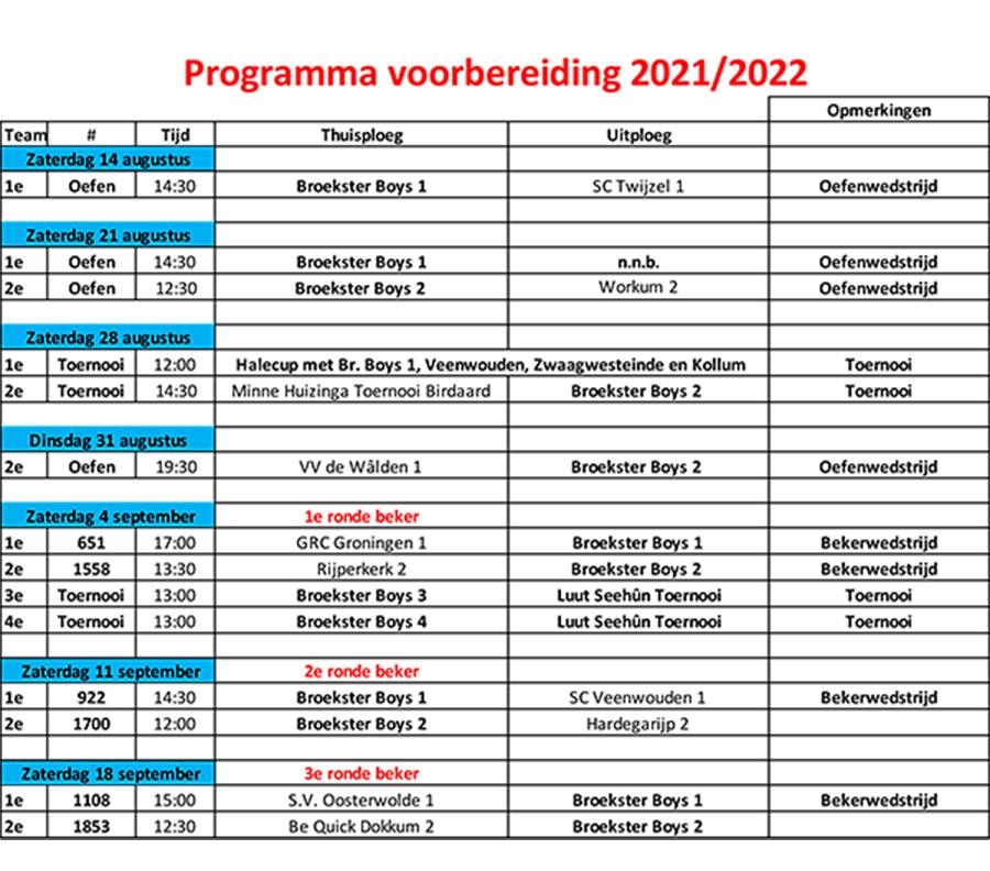 Programma voorbereiding 2021-2022